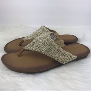 Skechers Luxe Foam Crochet Flip Flops 10 Tan Gold